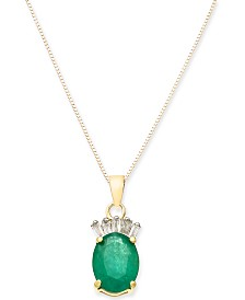 "Emerald (1-1/3 ct. t.w.) & Diamond Accent 17"" Pendant Necklace in 14k Gold"