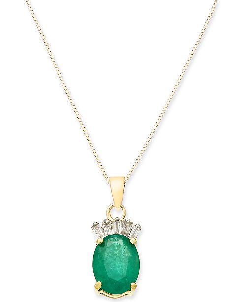 "Macy's Emerald (1-1/3 ct. t.w.) & Diamond Accent 17"" Pendant Necklace in 14k Gold"