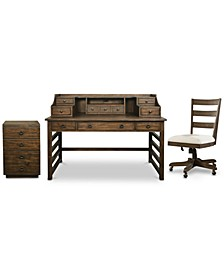 Ridgeway Home Office 3-Pc. Set (Leg Desk With Hutch, Wood Back Chair, & Mobile File Cabinet)