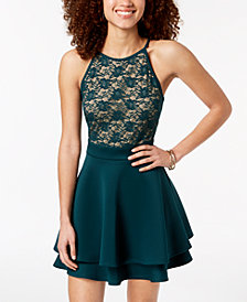 Emerald Sundae Juniors' Lace Fit & Flare Dress