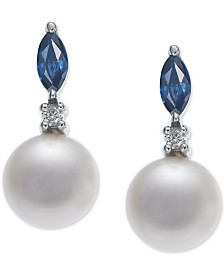 Cultured Freshwater Pearl (7mm), Sapphire (1/2 ct. t.w.) & Diamond Accent Drop Earrings in 14k White Gold