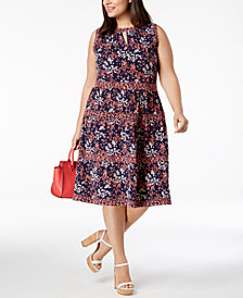 MICHAEL Michael Kors Plus Size Printed Keyhole Dress