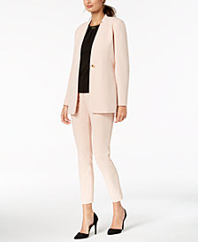 Calvin Klein One-Button Jacket, Embellished Top & Skinny Pants