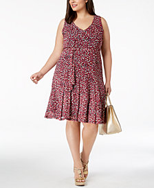 MICHAEL Michael Kors Plus Size Floral-Print Fit & Flare Dress