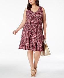 MICHAEL Michael Kors Plus Size Floral-Print Fit & Flare Dress