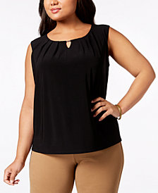 Kasper Plus Size Pleat-Neck Keyhole Shell