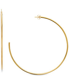 Polished Tube C-Hoop Earrings in 14k Gold