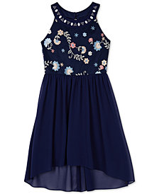 BCX Big Girls Embroidered Embellished-Neck Dress