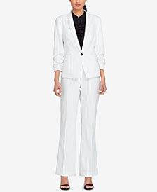 Tahari ASL Petite Pinstriped Ruched-Sleeve Jacket