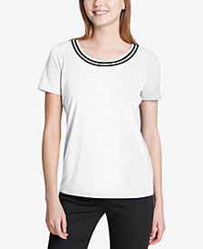 Calvin Klein Striped Scoop-Neck Top