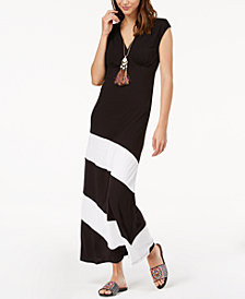 I.N.C. Asymmetrical Colorblocked Maxi Dress, Created for Macy's