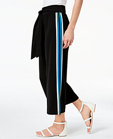 I.N.C. Petite Side-Striped Cropped Wide-Leg Pants, Created for Macy's