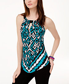 I.N.C. Petite Handkerchief-Hem Printed Halter Top, Created for Macy's
