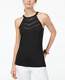 I.N.C. Petite Illusion Halter Top, Created for Macy's