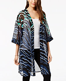 Alfani Printed Sheer Kimono Jacket, Created For Macy's