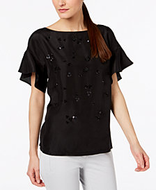 Weekend Max Mara Panama Embellished Ruffled-Sleeve Top