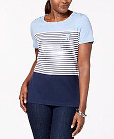 Karen Scott Petite Olivia Colorblocked Top, Created for Macy's