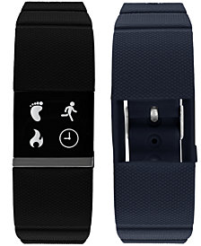 iTouch Men's iFitness Pulse Black & Navy Silicone Strap Smart Watch 20x18mm