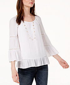 I.N.C. Petite Tiered-Sleeve Ruffled Peasant Top, Created for Macy's