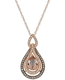Morganite (9/10 ct. t.w.) & Diamond (1/3 ct. t.w.) Pendant Necklace in 14k Rose Gold