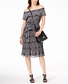 MICHAEL Michael Kors Pleated Off-The-Shoulder Dress in Regular and Petite Sizes