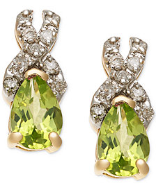 Peridot (9/10 ct. t.w.) & Diamond (1/8 ct. t.w.) Stud Earrings in 14k Gold