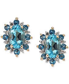 Blue Topaz (1-1/5 ct. t.w.) & Diamond Accent Stud Earrings in 14 Gold