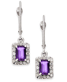 Amethyst (1-1/10 ct. t.w.) & Diamond (1/3 ct. t.w.) Drop Earrings in 14k White Gold
