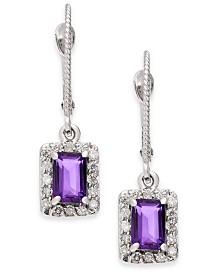 Amethyst (1-1/10 ct. t.w.) & Diamond (1/3 ct. t.w.) Drop Earrings in 14k White Gold