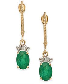 Emerald (1-5/8 ct. t.w.) & Diamond (1/10 ct. t.w.) Drop Earrings in 14k Gold