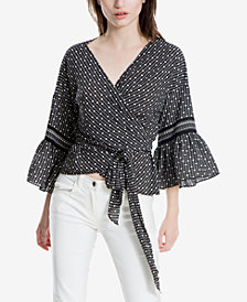 Max Studio London Printed Wrap Top, Created for Macy's