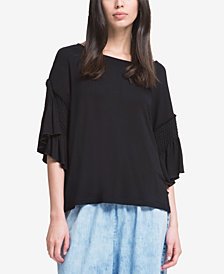 DKNY Ruffled 3/4-Sleeve T-Shirt