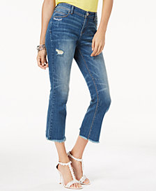 I.N.C. Embroidered Ripped Ankle Jeans, Created for Macy's