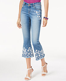 I.N.C. Petite Embroidered Cropped Jeans, Created for Macy's