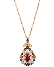 "Le Vian® Strawberry & Nude™ Passion Ruby™ (3/4 ct. t.w.) & Diamond (1/2 ct. t.w.) 18"" Pendant Necklace in 14k Rose Gold"