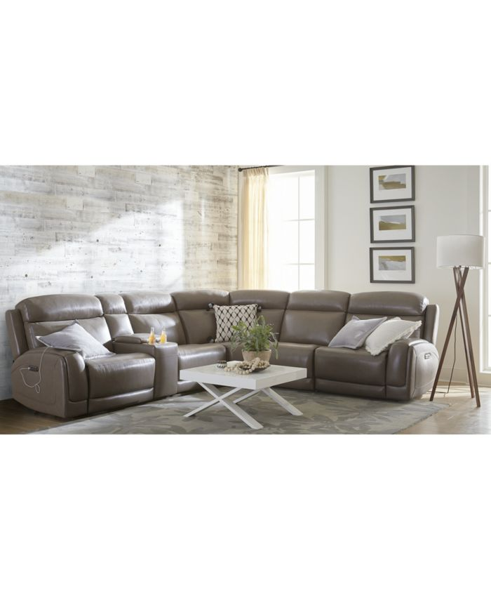 """Furniture CLOSEOUT! Winterton 95"""" 3-Pc. Fabric Power Reclining Sofa With 2 Power Recliners, Power Headrests, Lumbar, Console And USB Power Outlet & Reviews - Furniture - Macy's"""