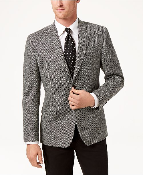 56ee93da186 ... Lauren Ralph Lauren Men s Slim-Fit Ultraflex Stretch Black White  Herringbone Wool Sport Coat ...