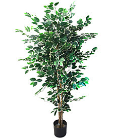 Artificial Ficus Tree with Variegated Leaves & Natural Trunk by Pure Garden