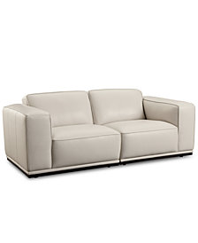 "Zeraga 80"" 2-Pc. Leather Modular Sectional Sofa, Created For Macy's"