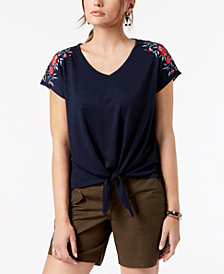 Style & Co Embroidered Tie-Front Top, Created for Macy's