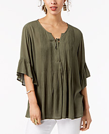 Style & Co Ruffled Lace-Up Top, Created for Macy's
