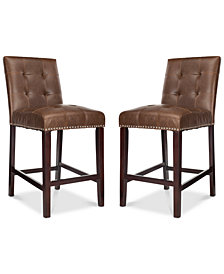 Ora Faux Leather Counter Stool (Set Of 2), Quick Ship