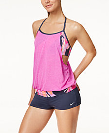 Nike Rule Beam Layered Halter Tankini Top & Swim Shorts