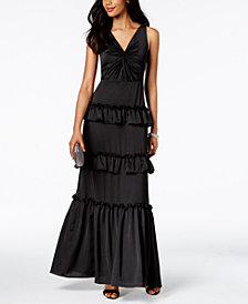 Adrianna Papell Tiered Twist-Front Gown