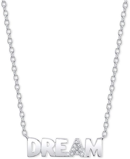 "Unwritten Cubic Zirconia ""Dream"" 18""  Pendant Necklace in Sterling Silver"