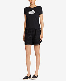 Lauren Ralph Lauren Monogram T-shirt and Scalloped Lace Shorts