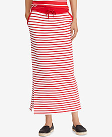 Lauren Ralph Lauren Striped Cotton French Terry Maxi Skirt