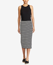 Lauren Ralph Lauren Striped Stretch Midi Skirt