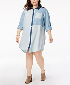 Tommy Hilfiger Plus Size Patchwork Denim Shirtdress, Created for Macy's
