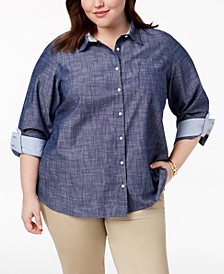 Plus Size Cotton Chambray Roll-Sleeve Shirt, Created for Macy's